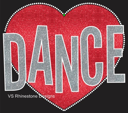 Dance Heart Vinyl and Rhinestone Transfer